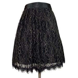Boston Proper Lace Circle Skirt Black Gold New 6